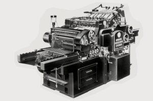 Strandbygaard Trykkeri viser her et billede af en Heidelberg maskine der bruges i et af Danmarks mest miljørigtige trykkerier.